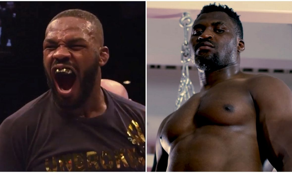 Ngannou threatened with a photo, and Jones soon replied: 'I'll literally break you up!'