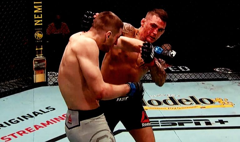 (Video) Poirier In a Memorable Match Defeated Hooker, 'Platinum' To Victory With His Girl In The Corner!